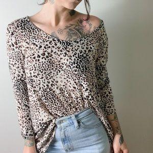 {anthro} W5 Leopard Print Scoop Neck Top